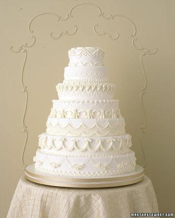 kek kahwin warna putih bercorak, all-white wedding cake