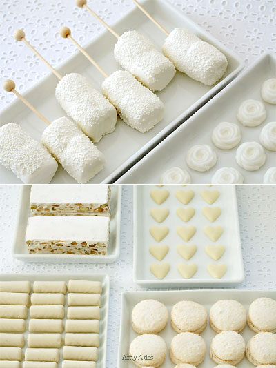 makanan majlis perkahwinan tema putih, white wedding banquet  buffet food selection