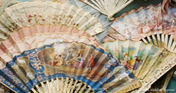 Marie Antoinette painted silk, lace and paper hand fans