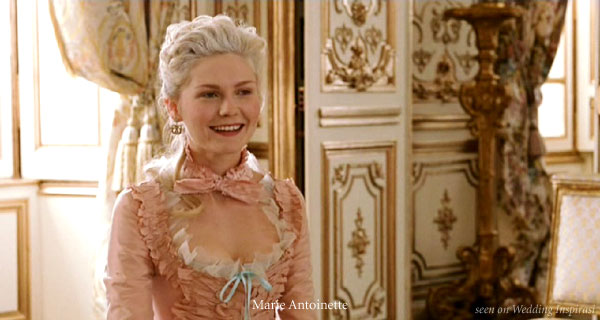 Kirsten Dunst as Marie Antoinette. Baby pink and blue ribbons, pretty ruffles and gold gilded walls