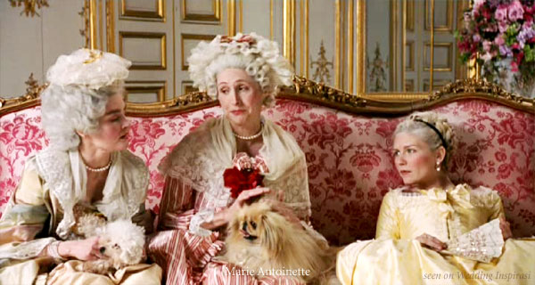 Sofia Coppola's film Marie Antoinette - wedding palette inspiration: pink, yellow, gold, light blue