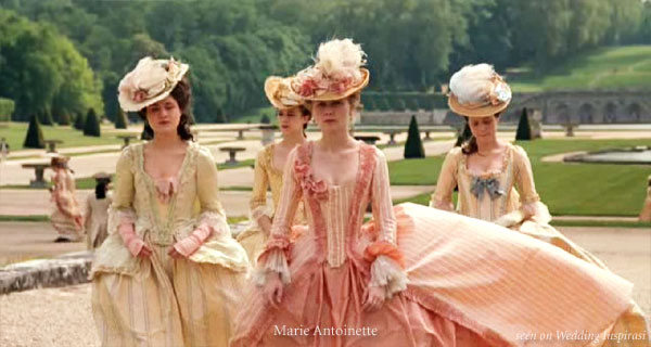 Marie Antoinette inspired costumes for pastel wedding theme