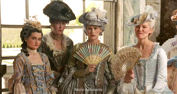 The French Queen as portrayed in the movie - small floral prints and pastel hues