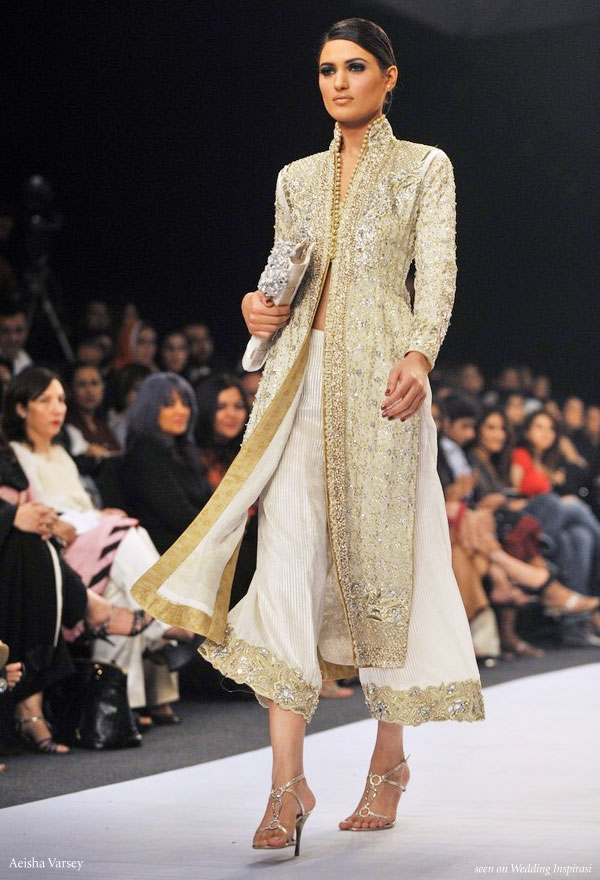 Modern dress using traditional sari fabric i like the pale peacock
