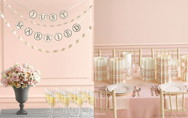 The theme is pink: Pale pinks, greys and splashes of champagne gold - lovely pastel wedding color palette