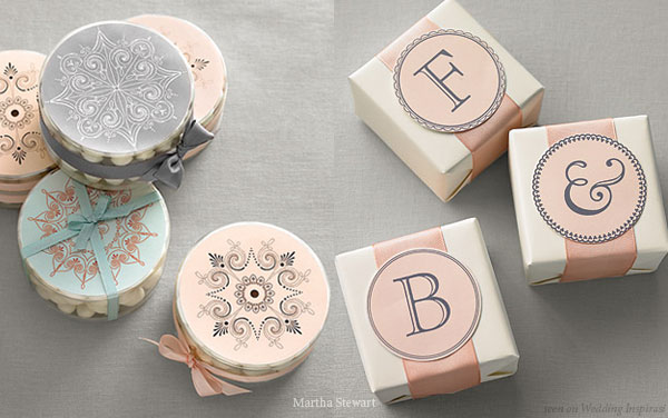 Pale dusty pink, warm grey, robin blue DIY wedding favors
