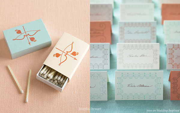 Robin blue personalised matchstick favor, for a pink, blue, grey, orange wedding theme