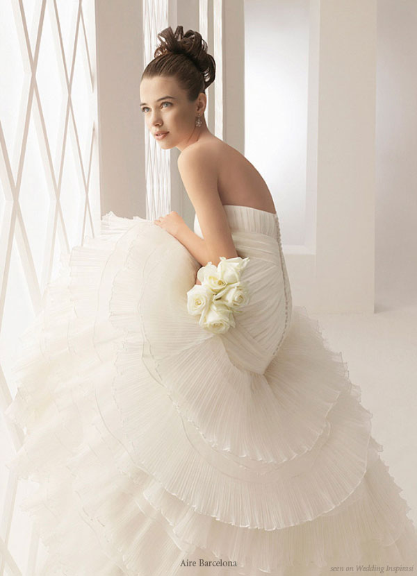 Aire Barcelona strapless ruffle white wedding gown