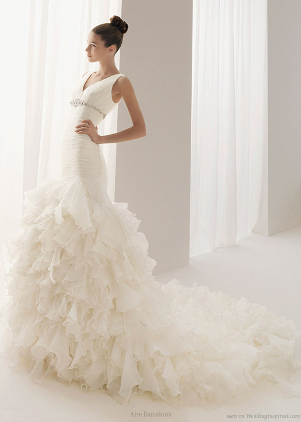 Aire Barcelona Burgos ruffle wedding dress from the 2010 bridal collection
