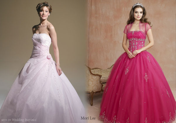 Baby rose and hot pink Quinceanera or prom dresses by Mori Lee used as wedding dress