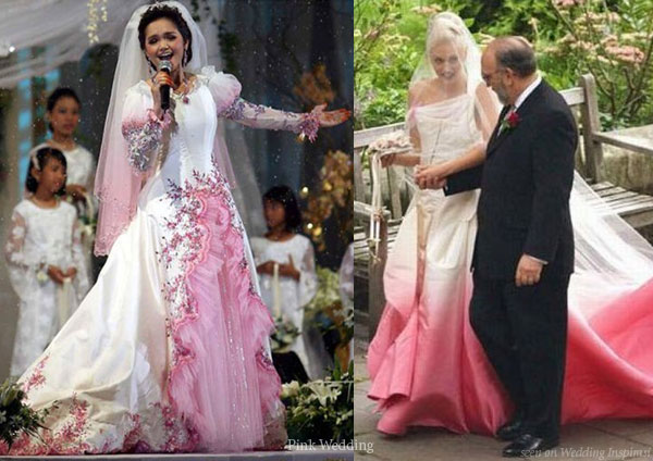 Celebrities with pink wedding dresses - Siti Nurhaliza in Michael Ong and Gwen Stefani in John Galliano for Dior