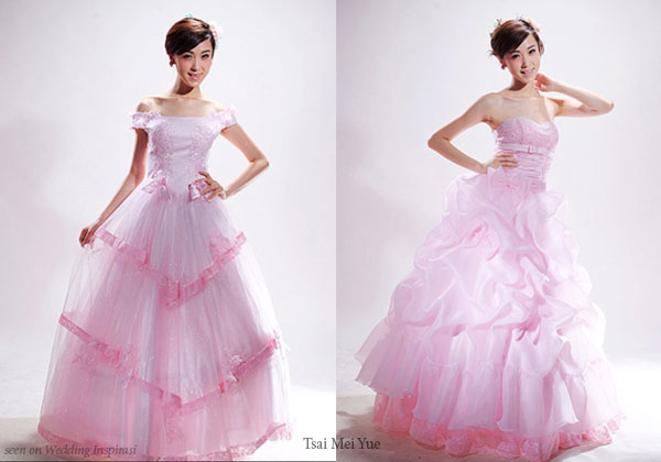 Pink wedding ball gown from Chinese bridal house Tsai Mei Yue