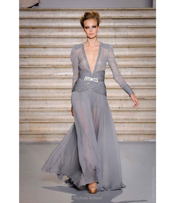 Embroidered evening dress in gray pearl crepe georgette by Stephane Rolland