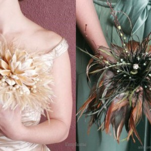 Champagne gold and emerald green and brown feather bouquet from Emplume