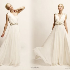 Roman toga, greek goddess inspired wedding gowns and everning dresses from Marchesa