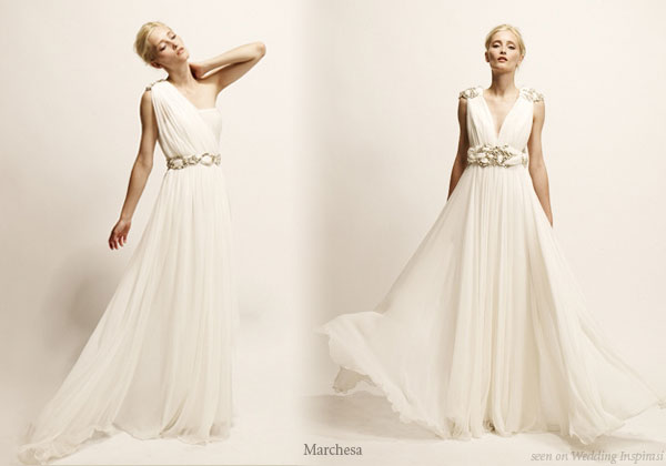 Roman toga, greek goddess inspired wedding gowns and evening dresses from Marchesa
