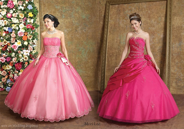 Cute deep cerise and salmon pink prom or quince dresses from Mori Lee Quinceanera collection