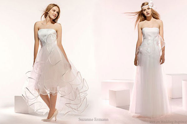 The long and short of it - short and long bridal gowns from Suzanne Ermann