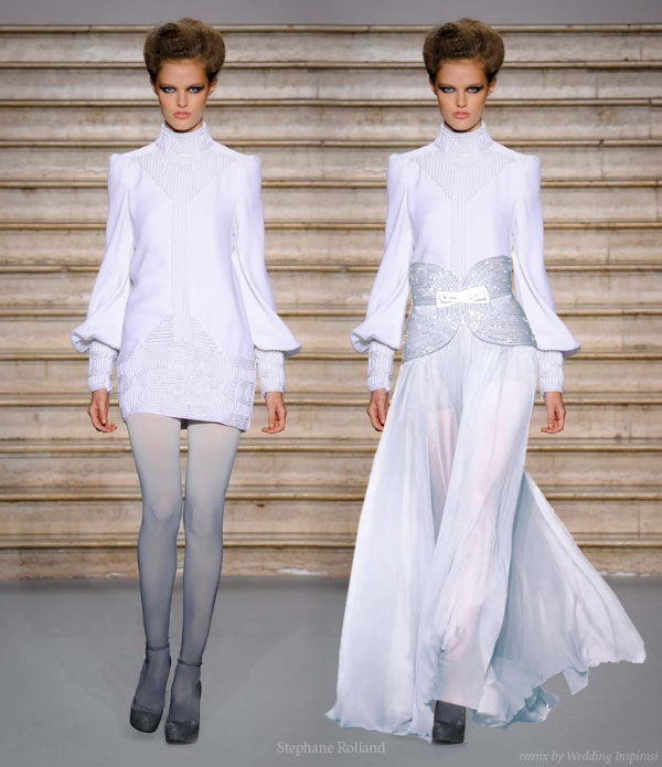 White Bi Sleeve Mini Dress Remixed Into A Modest Wedding Gown Designed By Stephane Rolland