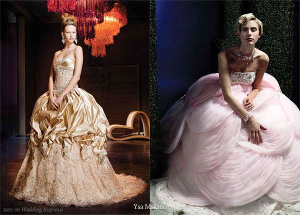 Gold bustle gown and light pink petal gown from Ysa Makino for the Princess Bride