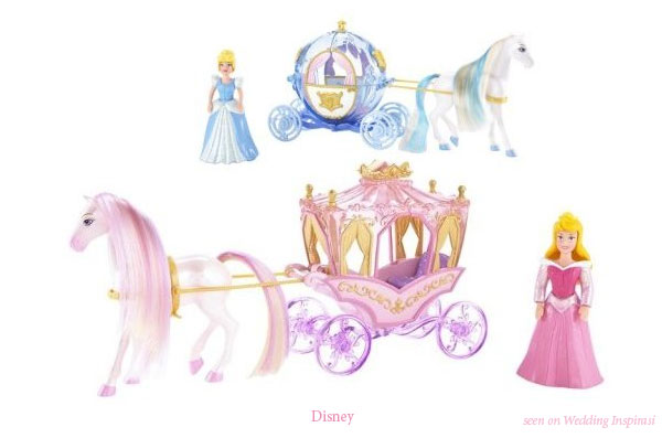 Details of a Princess Wedding theme - horse-drawn carriage, ball gown, gloves, Prince Charming