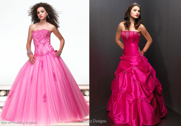 Cool pink tulle dress and ruched ball gown for a petite lady's wedding, prom or coming of age ceremony