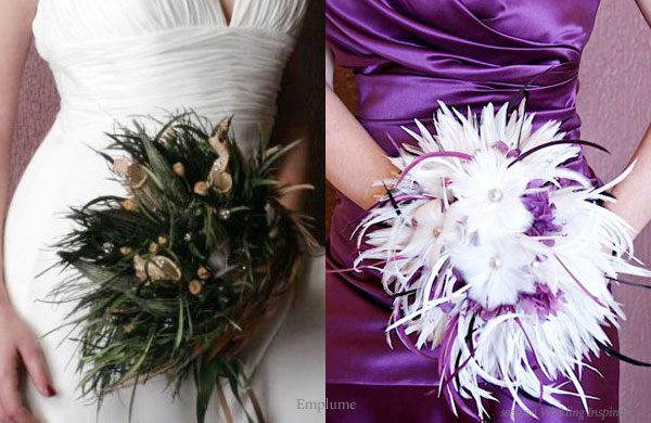 Purple and white flowers for a purple wedding or deep green and brown feathers for a white wedding