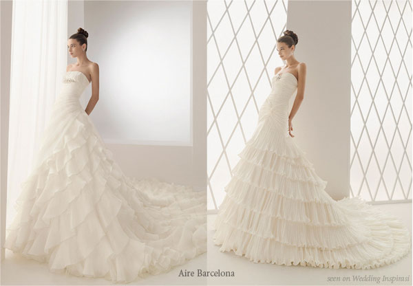 Spanish influenced ruffle romantic white wedding dress