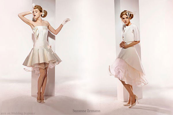 Short, retro vintage style wedding dresses from Suzanne Ermann