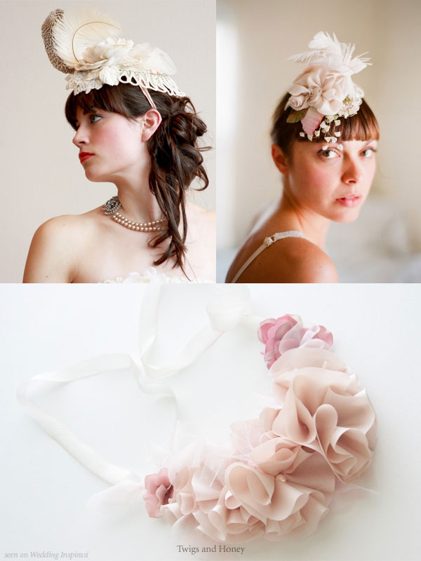 Twigs And Honey Veils Feathers Flowers Hair Accessories Necklaces By Myra Kim