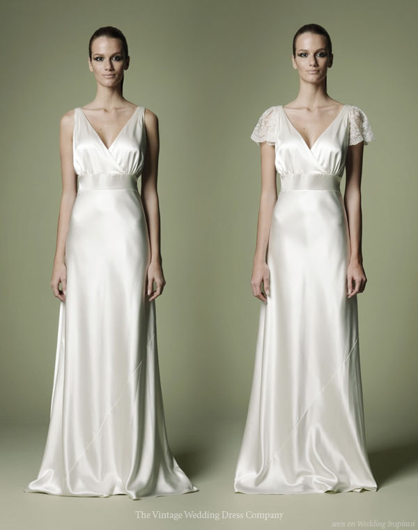 1930s vintage inspired wedding gown with and without lace sleeves