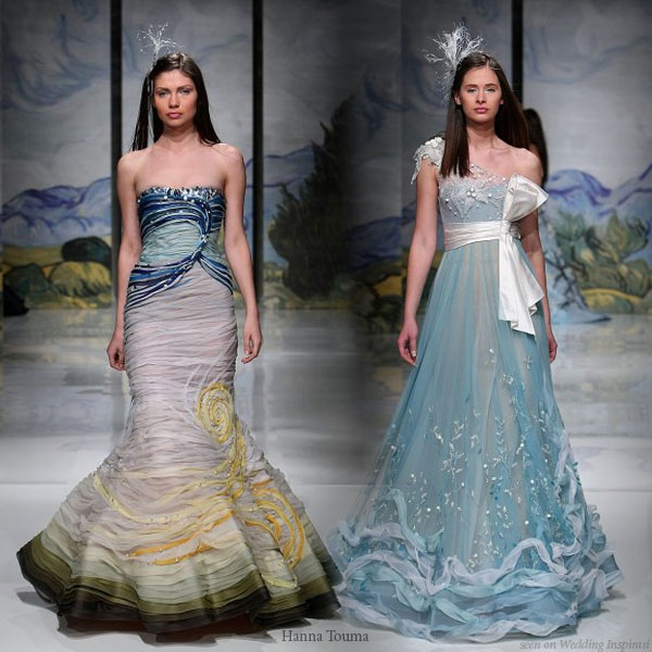 Hanna Touma 2009 spring summer couture dresses in colors of the sea - light foam blue, sand and seaweed