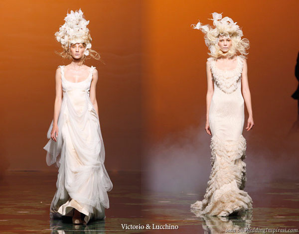 Wedding gowns on the runway from Spanish designers from the house of Victorio y Lucchino