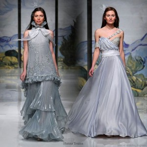 Blue, grey, grayish silver wedding dresses