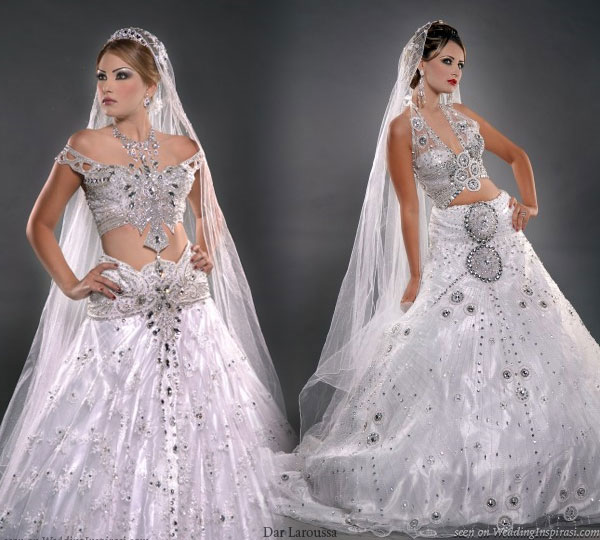 Show off that flat belly in a kesswa. Exotic wedding dress in glittery silver