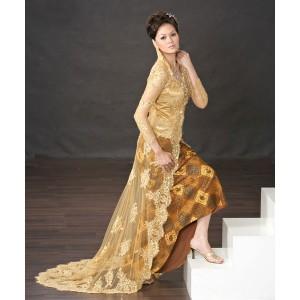 Kebaya panjang pengantin traditional indonesian malay wedding dress - Angel Paris