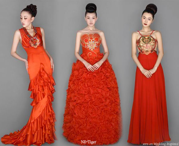 Ne.Tiger red Chinese traditional cheongsam and eastern influenced dresses 2008-2009 collection