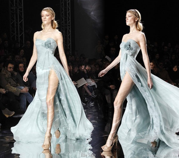 Light blue evening or bridal gown with high slit by Elie Saab Spring Summer