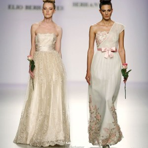 Elio Berhanyer - one-shoulder toga wedding dress in white and pink, champagne gold strapless gown