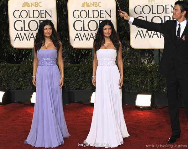 Fergie black eyed peas with Josh duhamel in a purple lavender Elie Saab gown at the Golden Globes Award 2010