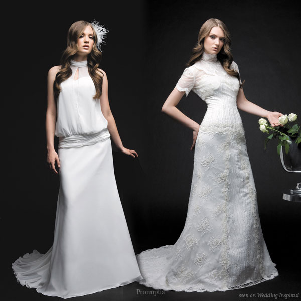 White short sleeve high neck wedding dress from the Glamour collection