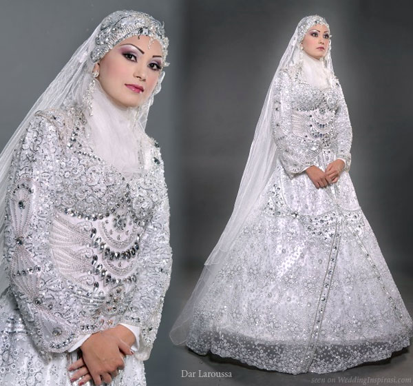 Islamic style veil, hijab, and a modest wedding dress with a western a-line silhouette from Dar Laroussa