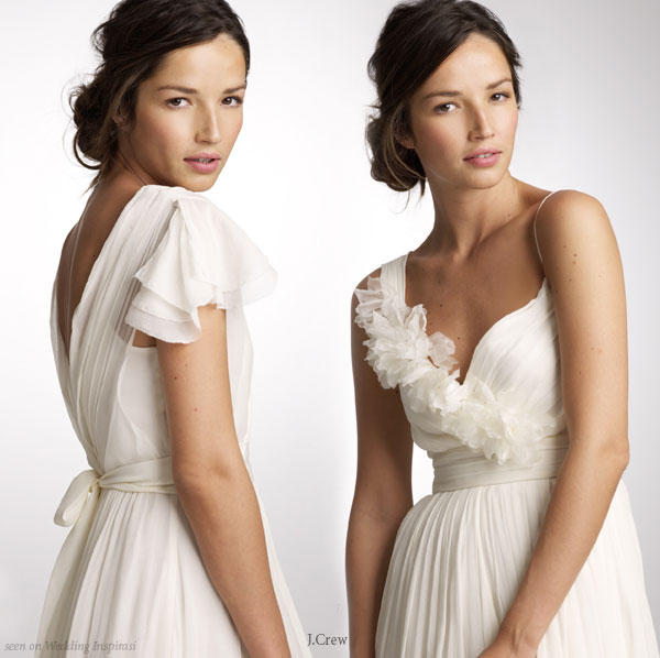Closeup Of J Crew White Wedding Gown Detail Ruffles And Flowers