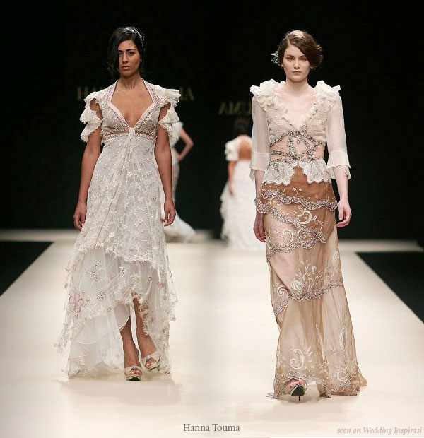 Romantic lace off-white, brown wedding gowns and dresses Hanna Touma