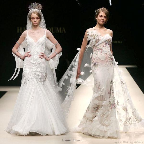 Long veil, pretty dress, beautiful wedding gowns from Hanna Touma