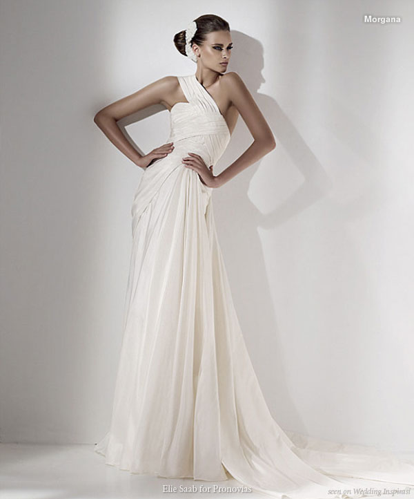 One shoulder morgana wedding gown Elie Saab Pronovias 2010