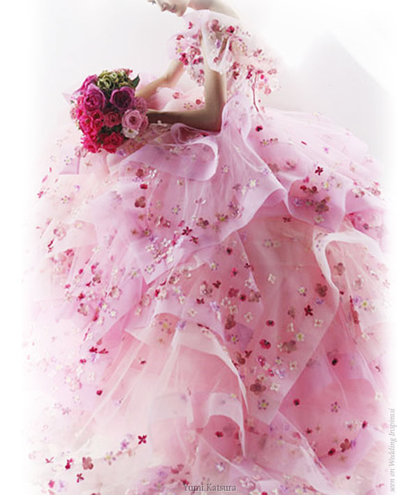 Pink wedding dress / evening gown with flowers from Yumi Katsura Bridal