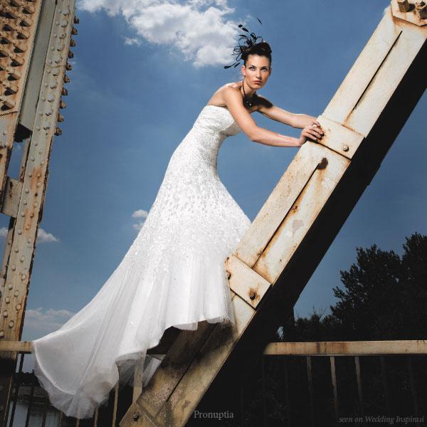 Pronuptia France long strapless white a-line wedding dress