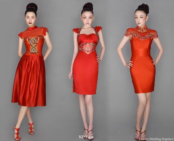 Ne.Tiger red Chinese traditional cheongsam and eastern influenced dresses 2008 collection