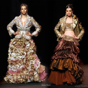 Exotic color wedding dresses with bolero jacket and frilly ruffle skirt